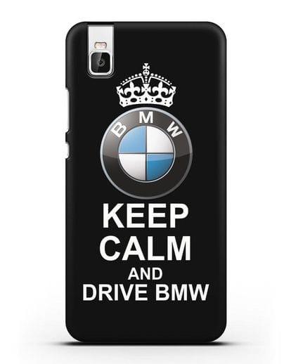 Чехол с надписью Keep Calm and Drive BMW силикон черный для Honor 7i