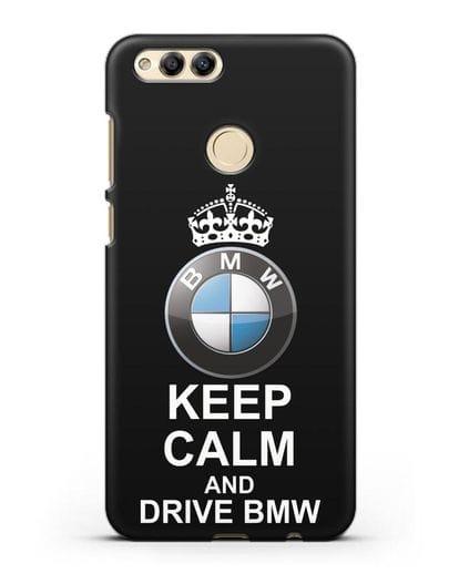 Чехол с надписью Keep Calm and Drive BMW силикон черный для Honor 7X