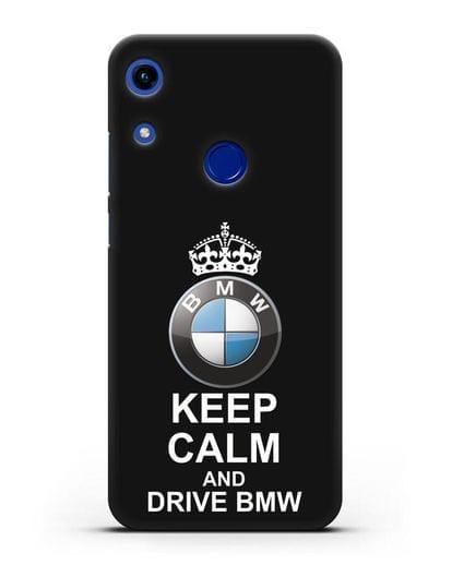 Чехол с надписью Keep Calm and Drive BMW силикон черный для Honor 8A
