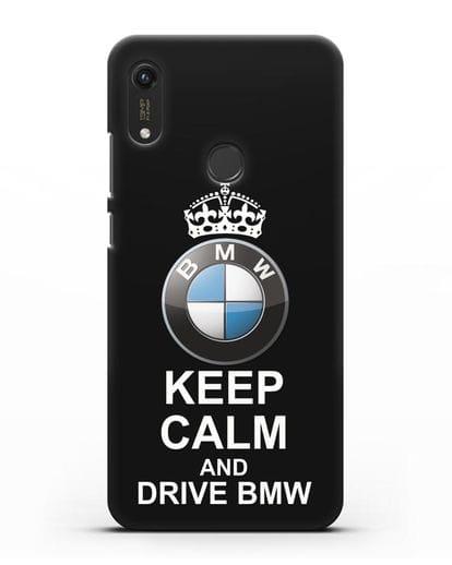 Чехол с надписью Keep Calm and Drive BMW силикон черный для Honor 8A Prime