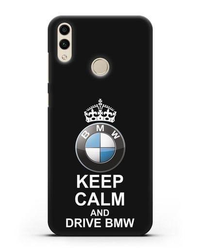 Чехол с надписью Keep Calm and Drive BMW силикон черный для Honor 8C