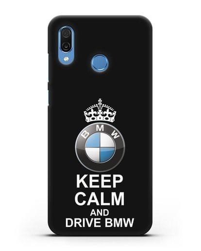 Чехол с надписью Keep Calm and Drive BMW силикон черный для Honor Play