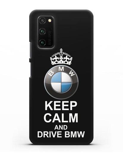 Чехол с надписью Keep Calm and Drive BMW силикон черный для Honor View 30 Pro