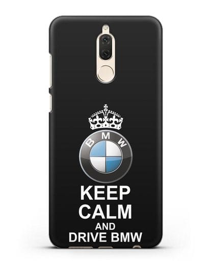 Чехол с надписью Keep Calm and Drive BMW силикон черный для Huawei Mate 10 Lite
