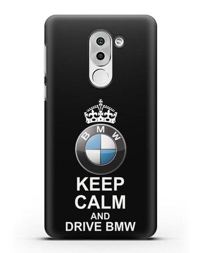 Чехол с надписью Keep Calm and Drive BMW силикон черный для Huawei Mate 9 Lite