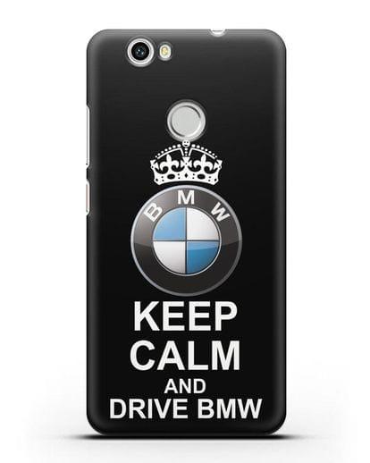 Чехол с надписью Keep Calm and Drive BMW силикон черный для Huawei Nova