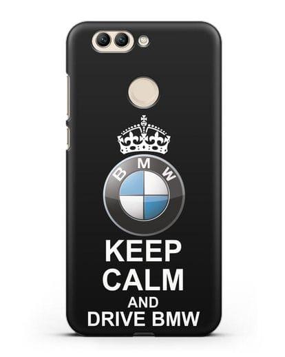 Чехол с надписью Keep Calm and Drive BMW силикон черный для Huawei Nova 2 Plus