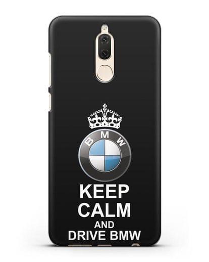 Чехол с надписью Keep Calm and Drive BMW силикон черный для Huawei Nova 2