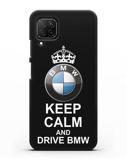 Чехол с надписью Keep Calm and Drive BMW силикон черный для Huawei Nova 7i