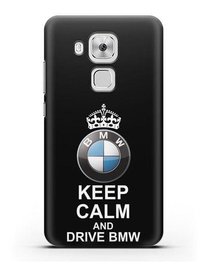 Чехол с надписью Keep Calm and Drive BMW силикон черный для Huawei Nova Plus
