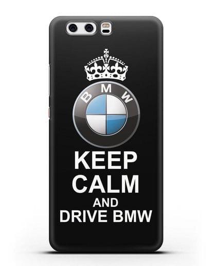 Чехол с надписью Keep Calm and Drive BMW силикон черный для Huawei P10