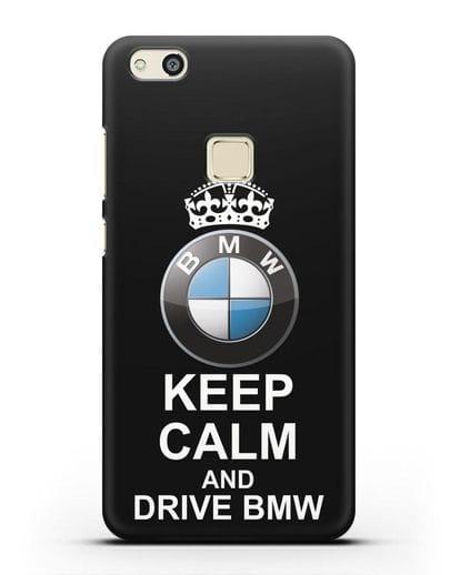 Чехол с надписью Keep Calm and Drive BMW силикон черный для Huawei P10 Lite