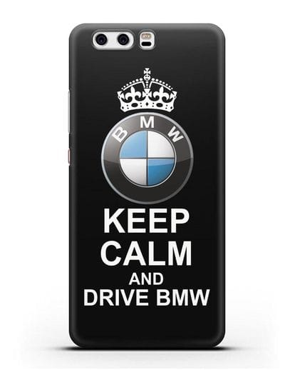Чехол с надписью Keep Calm and Drive BMW силикон черный для Huawei P10 Plus