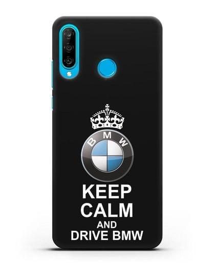 Чехол с надписью Keep Calm and Drive BMW силикон черный для Huawei P30 Lite