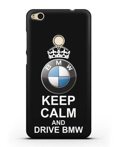 Чехол с надписью Keep Calm and Drive BMW силикон черный для Huawei P8 Lite 2017
