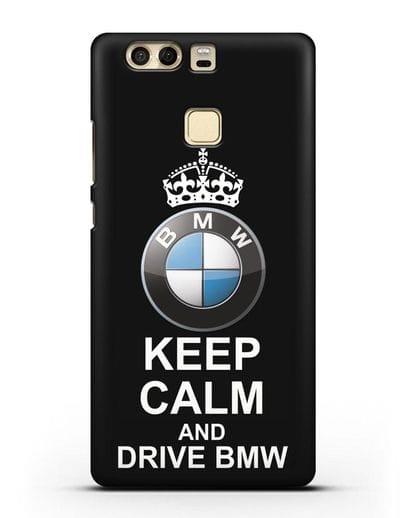 Чехол с надписью Keep Calm and Drive BMW силикон черный для Huawei P9