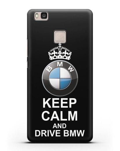 Чехол с надписью Keep Calm and Drive BMW силикон черный для Huawei P9 Lite