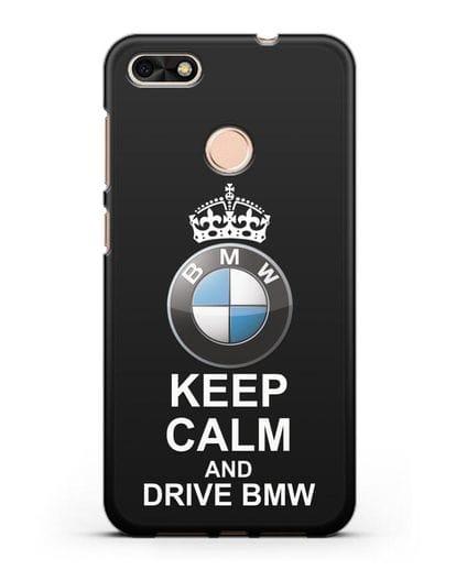 Чехол с надписью Keep Calm and Drive BMW силикон черный для Huawei P9 Lite mini