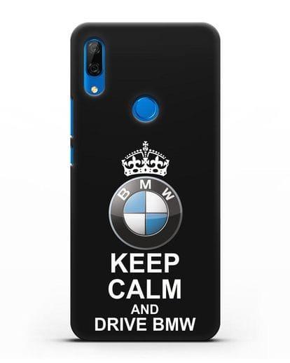 Чехол с надписью Keep Calm and Drive BMW силикон черный для Huawei P Smart Z