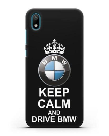 Чехол с надписью Keep Calm and Drive BMW силикон черный для Huawei Y5 2019