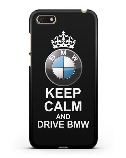 Чехол с надписью Keep Calm and Drive BMW силикон черный для Huawei Y5 Prime 2018