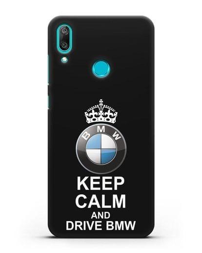 Чехол с надписью Keep Calm and Drive BMW силикон черный для Huawei Y7 2019