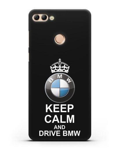 Чехол с надписью Keep Calm and Drive BMW силикон черный для Huawei Y9 2018