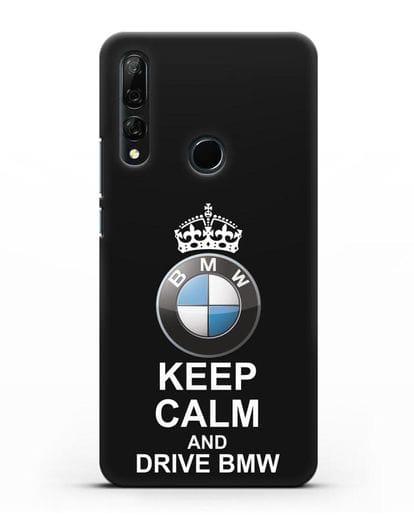Чехол с надписью Keep Calm and Drive BMW силикон черный для Huawei Y9 Prime 2019
