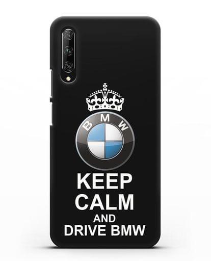 Чехол с надписью Keep Calm and Drive BMW силикон черный для Huawei Y9s