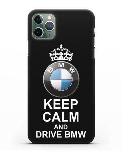 Чехол с надписью Keep Calm and Drive BMW силикон черный для iPhone 11 Pro