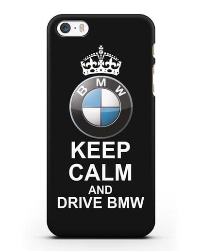 Чехол с надписью Keep Calm and Drive BMW силикон черный для iPhone 5/5s/SE