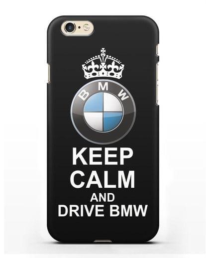 Чехол с надписью Keep Calm and Drive BMW силикон черный для iPhone 6s