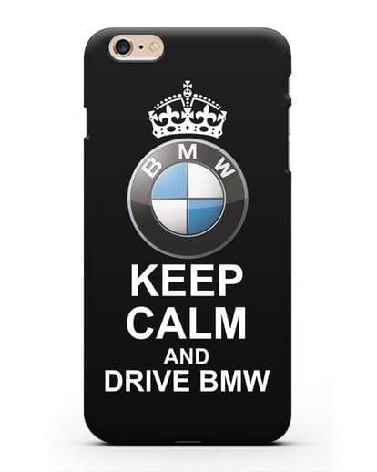 Чехол с надписью Keep Calm and Drive BMW силикон черный для iPhone 6s Plus