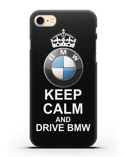 Чехол с надписью Keep Calm and Drive BMW силикон черный для iPhone 8