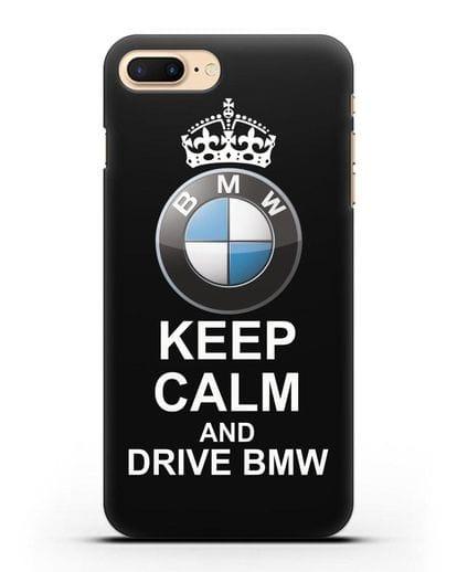 Чехол с надписью Keep Calm and Drive BMW силикон черный для iPhone 8 Plus
