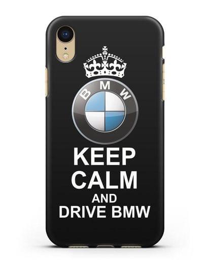 Чехол с надписью Keep Calm and Drive BMW силикон черный для iPhone XR