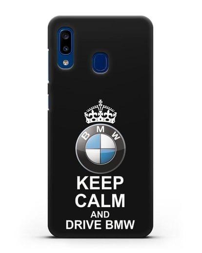 Чехол с надписью Keep Calm and Drive BMW силикон черный для Samsung Galaxy A20 [SM-A205FN]