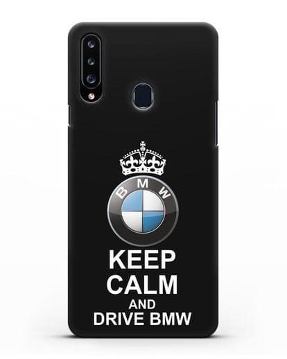 Чехол с надписью Keep Calm and Drive BMW силикон черный для Samsung Galaxy A20s [SM-A207FN]