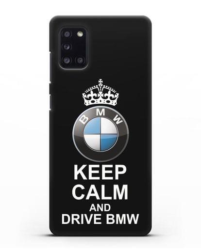 Чехол с надписью Keep Calm and Drive BMW силикон черный для Samsung Galaxy A31 [SM-A315F]