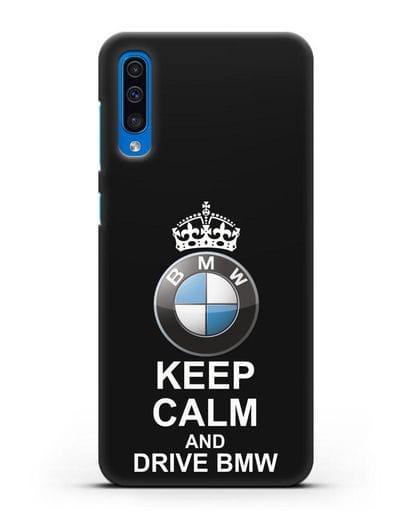 Чехол с надписью Keep Calm and Drive BMW силикон черный для Samsung Galaxy A50 [SM-A505F]