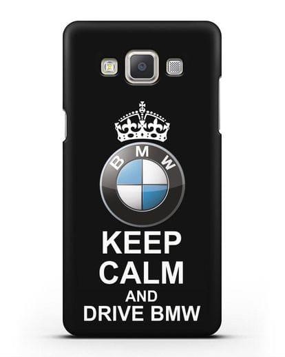 Чехол с надписью Keep Calm and Drive BMW силикон черный для Samsung Galaxy A7 2015 [SM-A700F]