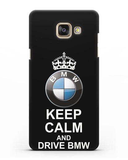 Чехол с надписью Keep Calm and Drive BMW силикон черный для Samsung Galaxy A7 2016 [SM-A710F]