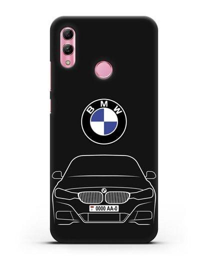 Чехол BMW 3 с автомобильным номером силикон черный для Honor 10 Lite