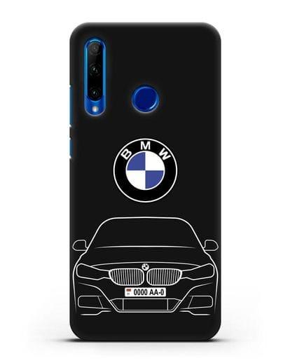Чехол BMW 3 с автомобильным номером силикон черный для Honor 10i