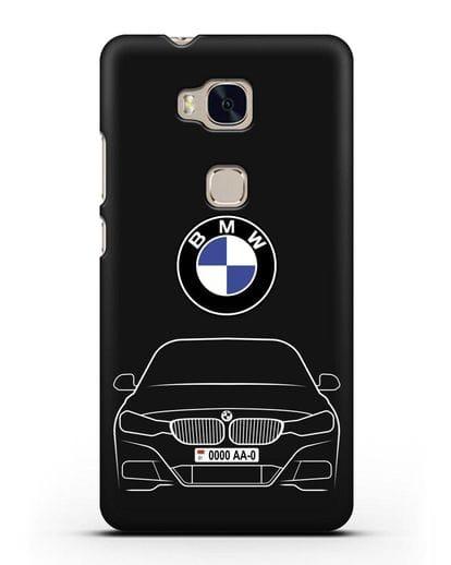 Чехол BMW 3 с автомобильным номером силикон черный для Honor 5X