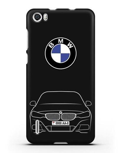 Чехол BMW 3 с автомобильным номером силикон черный для Honor 6