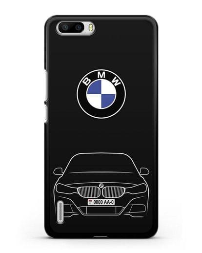 Чехол BMW 3 с автомобильным номером силикон черный для Honor 6 Plus