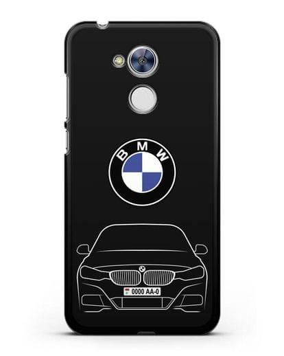 Чехол BMW 3 с автомобильным номером силикон черный для Honor 6A