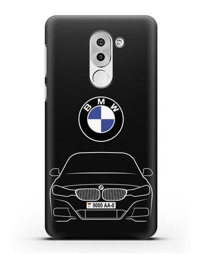 Чехол BMW 3 с автомобильным номером силикон черный для Honor 6X