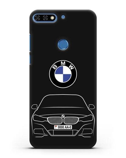Чехол BMW 3 с автомобильным номером силикон черный для Honor 7C Pro
